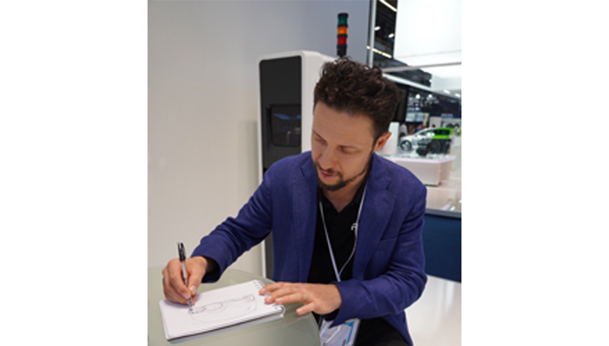 amos boaz sketching new ideas at IAA 2019